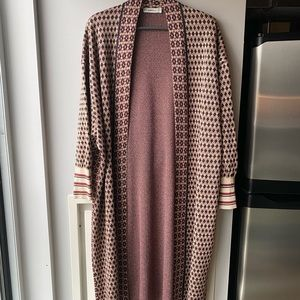 Sweater coat 70's inspired print